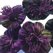 Vintage Purple Velvet Blossoms x6